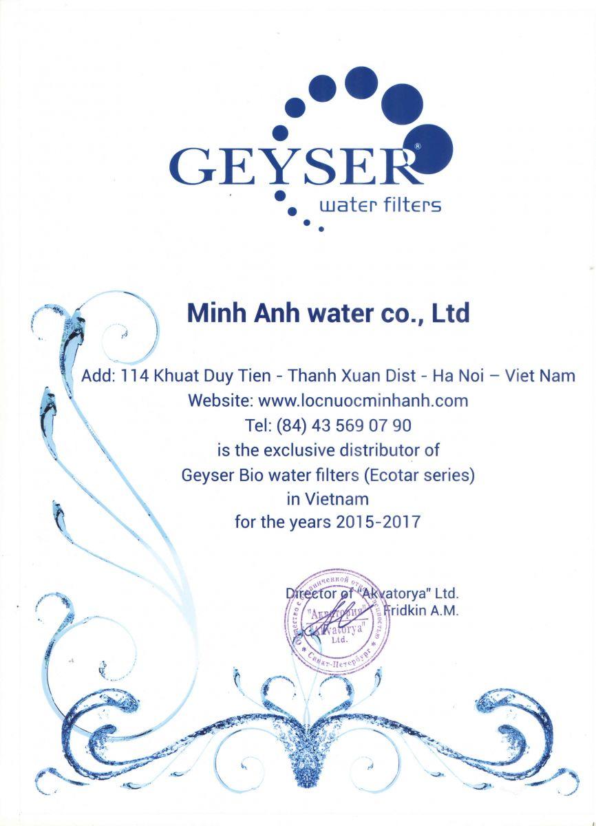 Chứng nhận phân phối độc quyền Geyser Ecotar